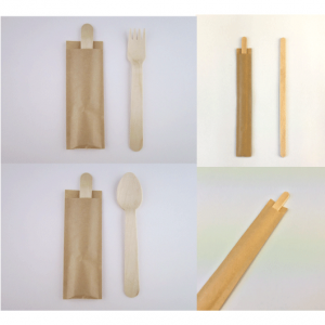 木製スプーン・フォーク・マドラーの個袋入りタイプ 袋の別注も承ります